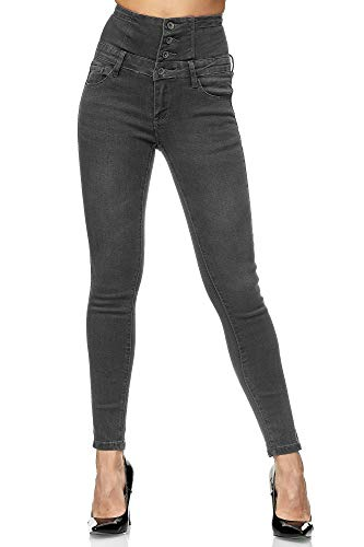 Elara Damen Jeans High Waist Push Up Skinny Fit Chunkyrayan 1166-82 Grey-38 (M)