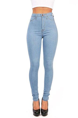 Gemijacka Damen High Waist Skinny Dünn Jeans (Blau, M: 36-38)