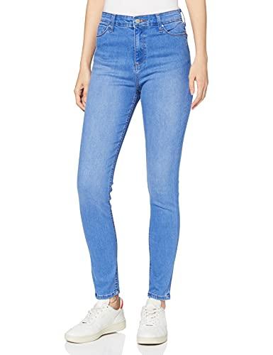 Amazon-Marke: MERAKI Damen Skinny Jeans mit hohem Bund, Blau (Bright Indigo Vintage), 31W / 30L, Label: 31W / 30L