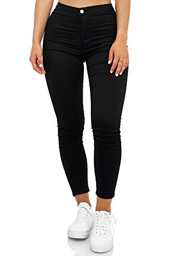 Elara Damen Jeans High Waist Slim Fit Chunkyrayan JS710 Schwarz 36 (S)