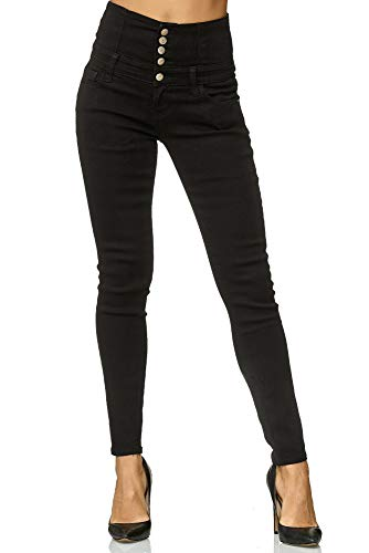 Elara Damen Stretch Jeans Skinny High Waist Chunkyrayan Y6109 Black 48 (4XL)