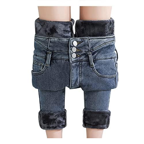 Winter-Jeans Damen-Gefüttert High-Waist Straight-Lang Fleece-Thermohose: Jeanshose Winterhose Damen Thermo Fleecehose...