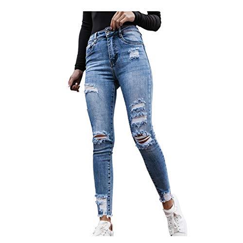 Ghemdilmn Damen Skinny High Waist Jeans Stretch Jeanshose Löcher Elegant Röhrenjeans Frauen Risse Ripped Lang Eng...