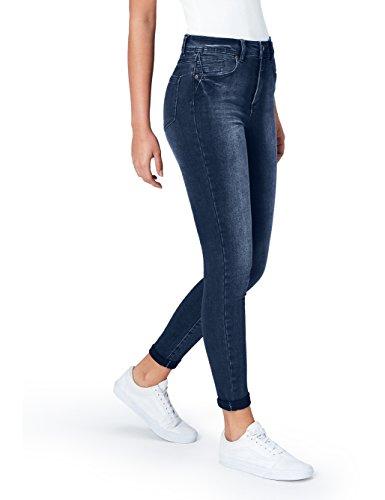 find. Damen Skinny Jeans mit mittlerem Bund, Blau (Mid Indigo), Large (32W / 32L)