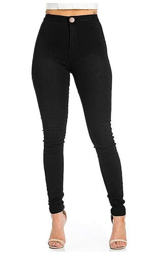 High-Waist-Jeans-Damen-schwarz-günstig