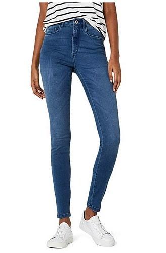 High-Waist-Skinny-Jeans-Damen-blau