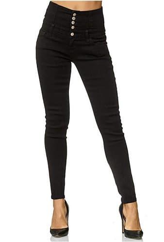 High-Waist-Skinny-Jeans-schwarz-Damen